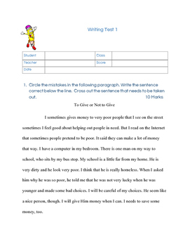 Paragraph Writing Test