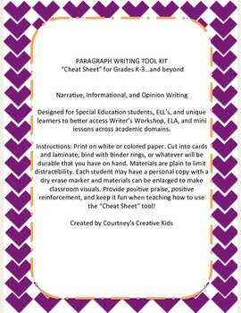 Paragraph Writing Tool Kit for Gen Ed and SDC