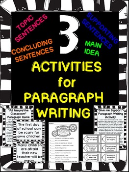Paragraph Writing- Topic Sentences and Supporting Sentences Activities