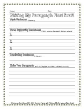 Paragraph Writing Worksheet: 1st Draft