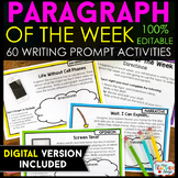 Paragraph of the Week - Paragraph Writing Practice with Writing Prompts EDITABLE