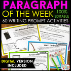 Paragraph of the Week | Paragraph Writing Practice | Writing Prompts EDITABLE