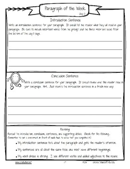 Paragraph of the Week Free Sample