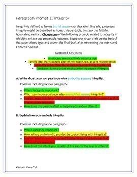 Paragraph of the Week GRADES 7, 8, 9, 10~  TEN WEEKS ~ Social-Emotional Domain