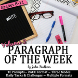 Paragraph of the Week Writing Prompts, High School Set 2, Traditional & Digital