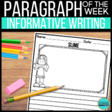 Paragraph of the Week Informative Writing DIGITAL and PRINTABLE