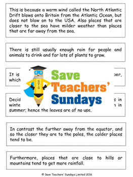 Paragraphing Activity (text about weather and climate) (2 levels of difficulty)