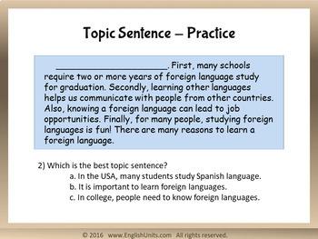 Paragraphs Part 2: Topic Sentences (Editable PPT)