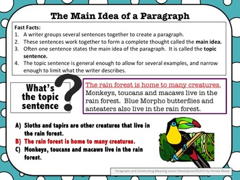 Paragraphs and Constructing Meaning PowerPoint and Student Notes Newly Revised