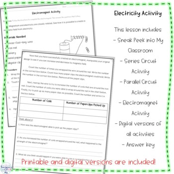 Parallel Circuit Nonfiction Reading and Hands on Electricity Activity