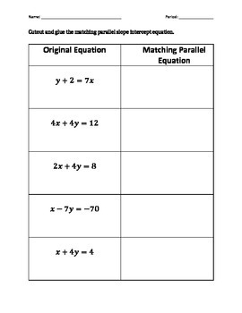 Parallel Equations of Lines Matching Activity