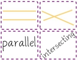 Parallel, Intersecting, and Perpendicular Lines flash cards/matching game