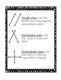 Parallel, Intersecting, and Perpendicular Visual Aid and Practice Worksheet