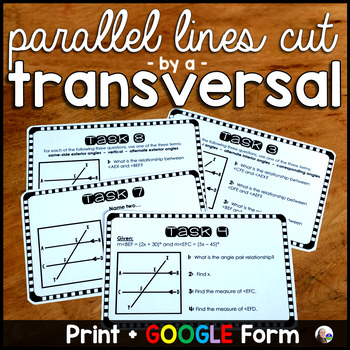 Parallel Lines Cut by a Transversal Task Cards Activity