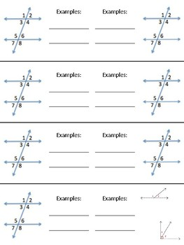 Parallel Line and Transversal Graphic Organizer