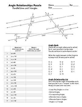 Parallel Lines Angle Relationships Puzzle