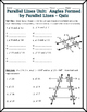 Parallel Lines - Angles Formed by Parallel Lines and Transversals Quiz