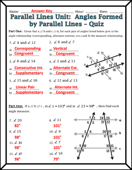Parallel Lines  Angles Formed by Parallel Lines and Transversals Quiz