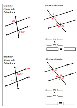 Parallel Lines Angles and Algebra Foldable with Exit Ticket(x4)