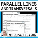 Parallel Lines Cut By A Transversal Notes and Practice 8.G.5