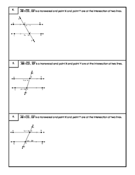 Parallel Lines Cut By  A Transversal with Algebra