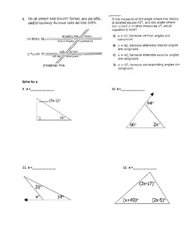 Parallel Lines Cut by Transverals, and Interior and Exterior Angles in Triangles