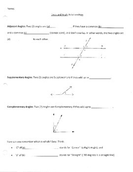 Parallel Lines Cut by Transversal/Angles Guided Notes and Answer Key