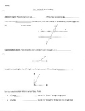 Parallel Lines Cut by Transversal/Angles Guided Notes and