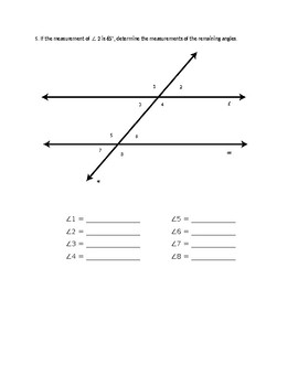 Parallel Lines Cut by Transversal - Find Missing Measurements