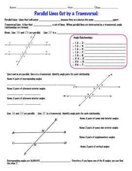 Parallel Lines Cut by a Transversal ~ Angle Relationships~ 8th Grade Math