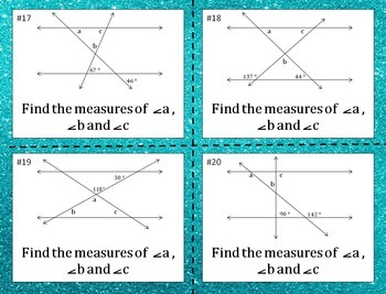 Parallel Lines Cut by a Transversal & Angles of a Triangle Task Cards 8.G.A.5
