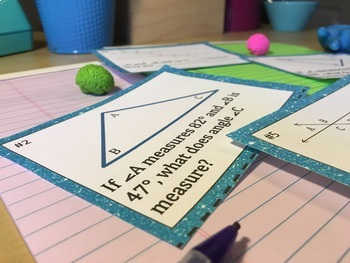 Parallel Lines, Transversals & Angles of a Triangle Activity Task Cards