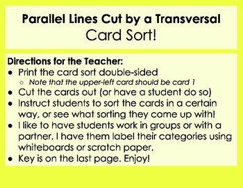 Parallel Lines Cut by a Transversal Card Sort - three ways to sort!