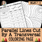 Parallel Lines Cut by a Transversal Coloring Worksheet 8.G.5