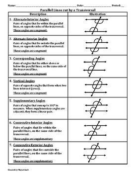 Parallel Lines Cut by a Transversal Reference Sheet - Teaching the Lesson