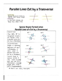 Parallel Lines Cut by a Transversal Graphic Organizer
