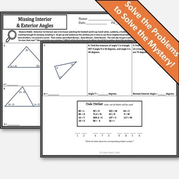 Parallel Lines Cut by a Transversal & Interior and Exterior Angles Activity!