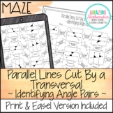 Parallel Lines Cut by a Transversal Maze Worksheet ~ Identifying Angle Pairs