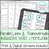 Parallel Lines Cut by a Transversal ~ Notes and Worksheets