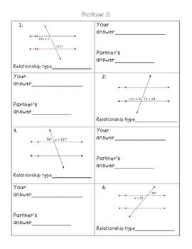 Parallel Lines Cut by a Transversal Partner Activity