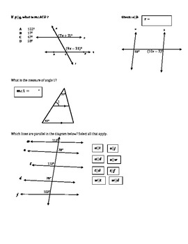 Parallel Lines Cut by a Transversal Practice