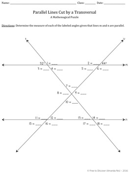 Parallel Lines Cut by a Transversal Puzzle