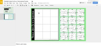 Parallel Lines, Transversals, and Angles Puzzle - GOOGLE SLIDES VERSION!