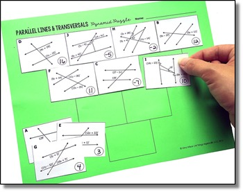 Parallel Lines Transversals And Angles Pyramid Sum Puzzle Tpt