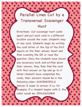 Parallel Lines Cut by a Transversal Scavenger Hunt: QR code and printable