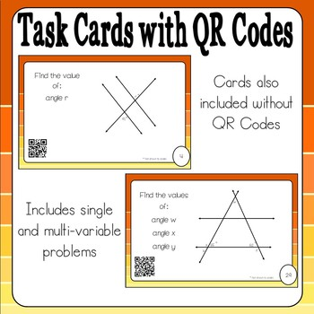 Parallel Lines Cut by a Transversal Task Cards