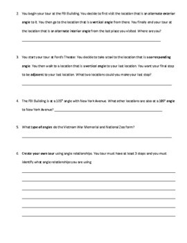 Parallel Lines Cut by a Transversal Tour of Washington, D.C. (8.G.5)