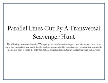 Parallel Lines Cut By a Transversal Scavenger Hunt Activity