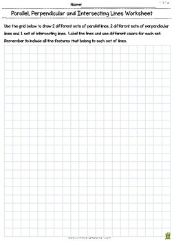 Parallel Lines & Perpendicular Lines - Geometry Worksheet (4.G.1)