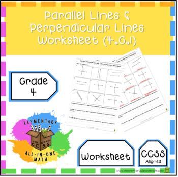 Parallel Lines & Perpendicular Lines - Geometry Worksheet (4 G 1) 4th Grade